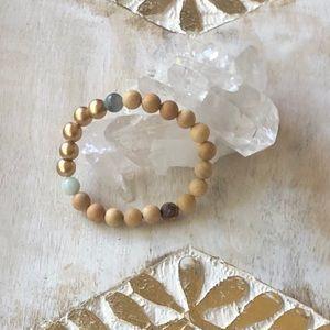 Rosewood & Natural Agate Mala Bracelet